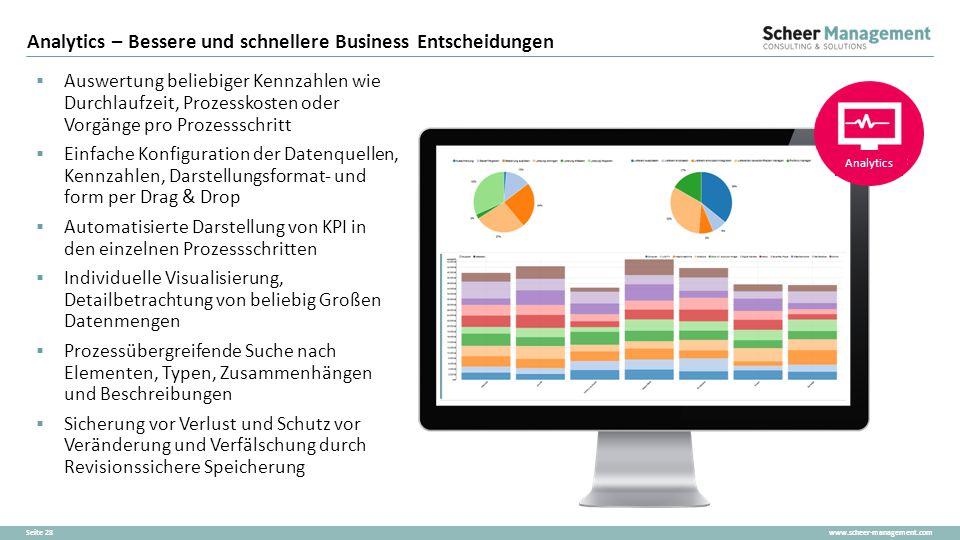 www.scheer-management.comSeite 28  Auswertung beliebiger Kennzahlen wie Durchlaufzeit, Prozesskosten oder Vorgänge pro Prozessschritt  Einfache Konf