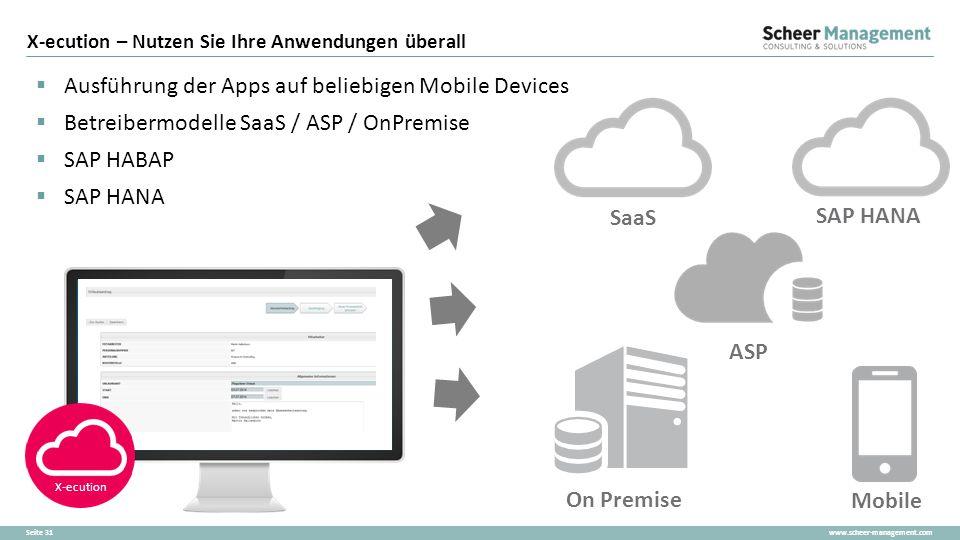 www.scheer-management.comSeite 31  Ausführung der Apps auf beliebigen Mobile Devices  Betreibermodelle SaaS / ASP / OnPremise  SAP HABAP  SAP HANA