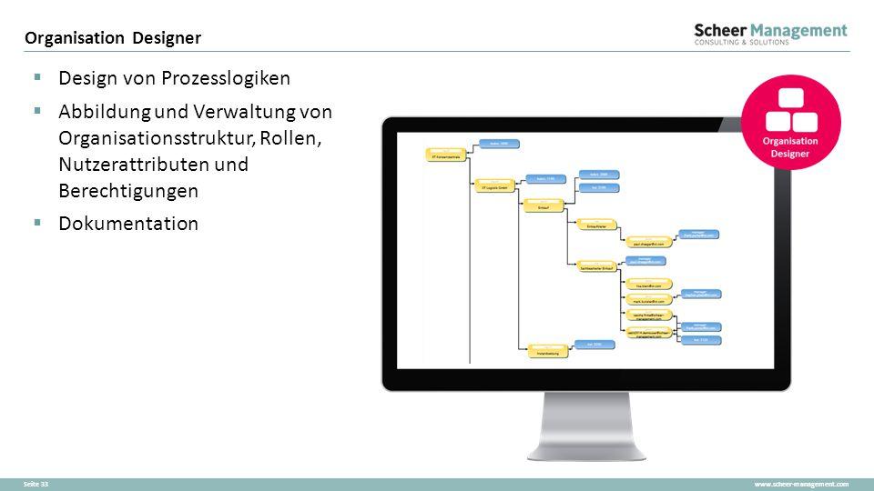 www.scheer-management.comSeite 33  Design von Prozesslogiken  Abbildung und Verwaltung von Organisationsstruktur, Rollen, Nutzerattributen und Berec