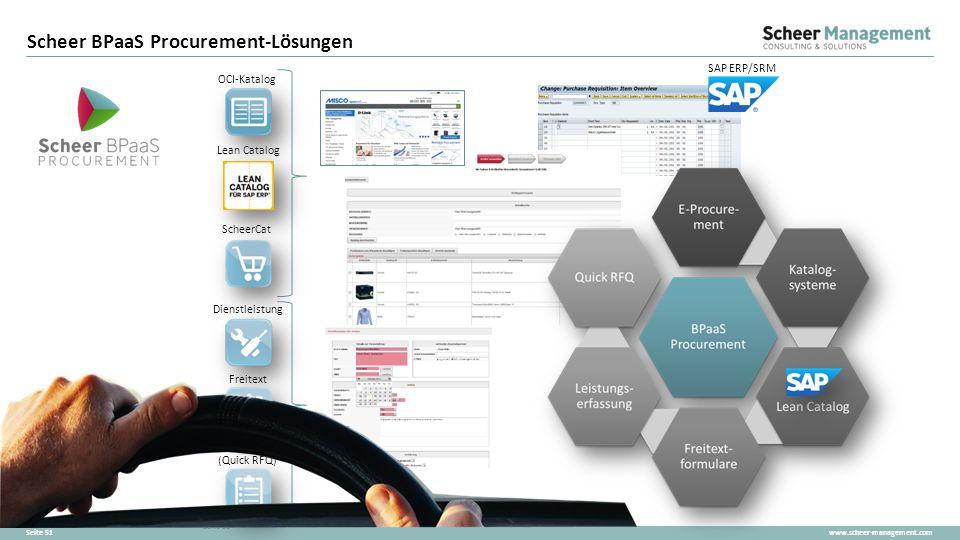 www.scheer-management.comSeite 51 Scheer BPaaS Procurement-Lösungen OCI-Katalog ScheerCat Lean Catalog Freitext SAP ERP/SRM Anfragen (Quick RFQ) Diens