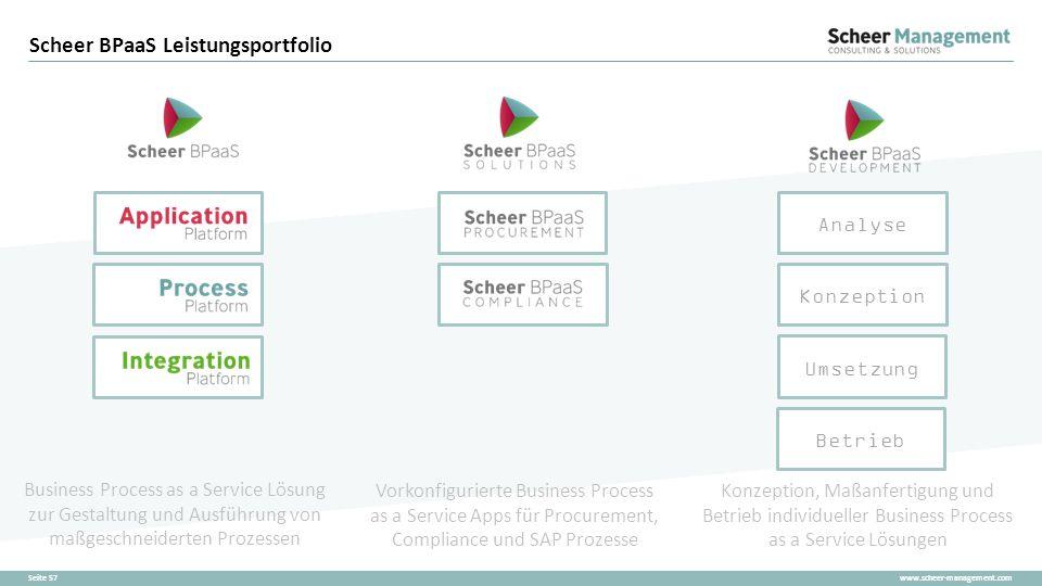 www.scheer-management.comSeite 57 Scheer BPaaS Leistungsportfolio Business Process as a Service Lösung zur Gestaltung und Ausführung von maßgeschneide