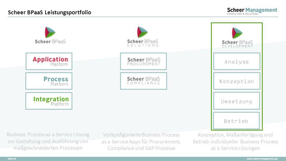 www.scheer-management.comSeite 58 Scheer BPaaS Leistungsportfolio Business Process as a Service Lösung zur Gestaltung und Ausführung von maßgeschneide