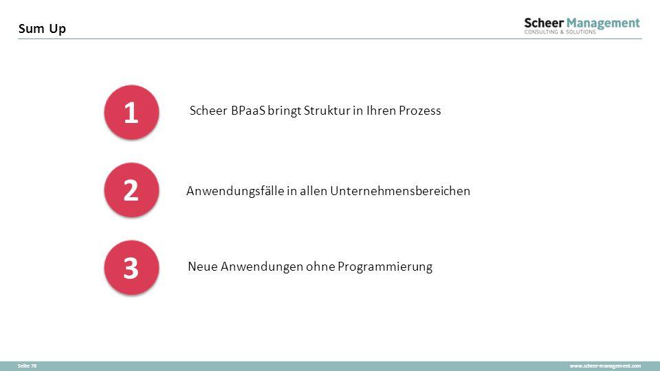 www.scheer-management.comSeite 70 Sum Up 1 1 2 2 3 3 Neue Anwendungen ohne Programmierung Anwendungsfälle in allen Unternehmensbereichen Scheer BPaaS