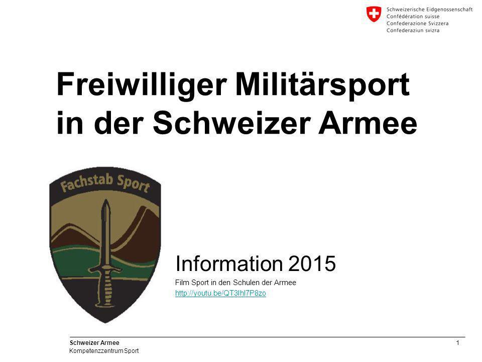 52 Schweizer Armee Kompetenzzentrum Sport Auskunft und Anmeldung Eidgenössisches Departement für Verteidigung, Bevölkerungsschutz und Sport VBS Schweizer Armee - Teilstreitkraft HEER – Kompetenzzentrum Sport BASPO, 2532 Magglingen Tel +41 32 327 63 16 Fax +41 32 327 64 33 mailto:christian.hess@vtg.admin.ch