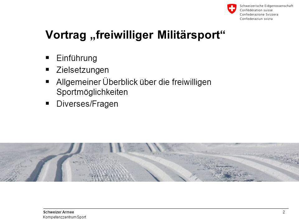3 Schweizer Armee Kompetenzzentrum Sport Zielsetzungen des Vortrages  Informationen zum Kompetenzzentrum Sport weitergeben  Wer macht wie, wo, was und wann im ausserdienstlichen Militärsport.