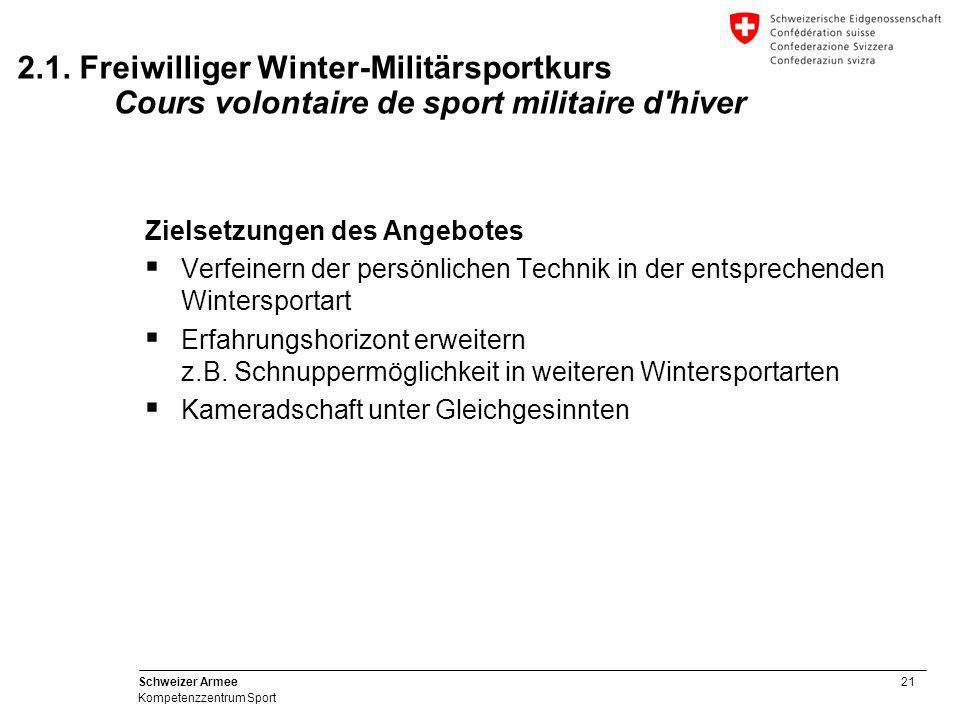 21 Schweizer Armee Kompetenzzentrum Sport Zielsetzungen des Angebotes  Verfeinern der persönlichen Technik in der entsprechenden Wintersportart  Erf