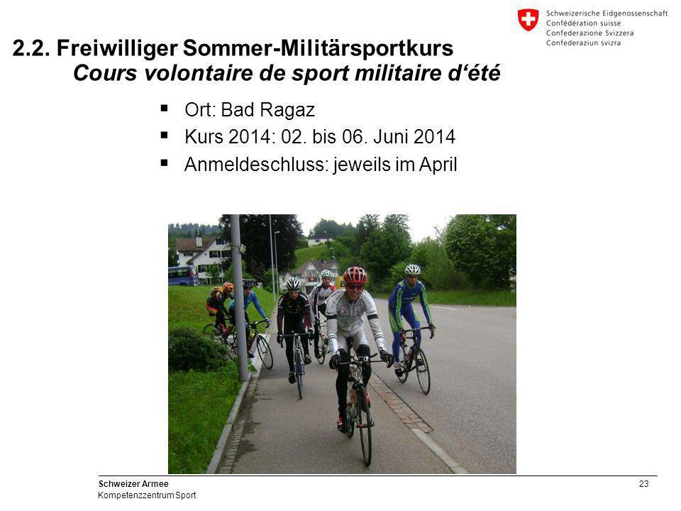 23 Schweizer Armee Kompetenzzentrum Sport 2.2. Freiwilliger Sommer-Militärsportkurs Cours volontaire de sport militaire d'été  Ort: Bad Ragaz  Kurs