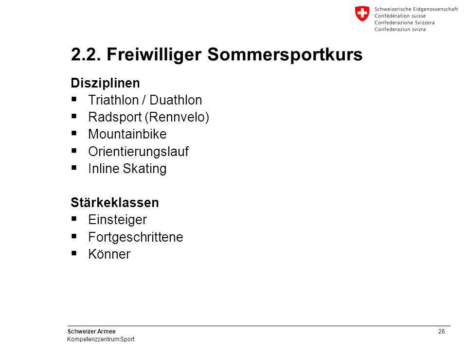 26 Schweizer Armee Kompetenzzentrum Sport 2.2. Freiwilliger Sommersportkurs Disziplinen  Triathlon / Duathlon  Radsport (Rennvelo)  Mountainbike 