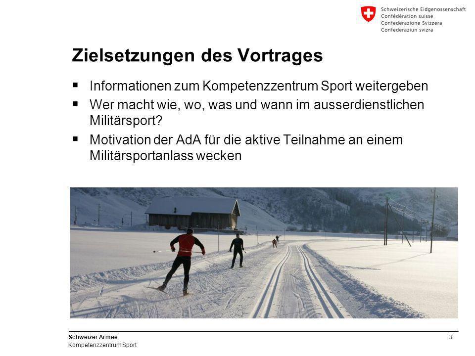 3 Schweizer Armee Kompetenzzentrum Sport Zielsetzungen des Vortrages  Informationen zum Kompetenzzentrum Sport weitergeben  Wer macht wie, wo, was u