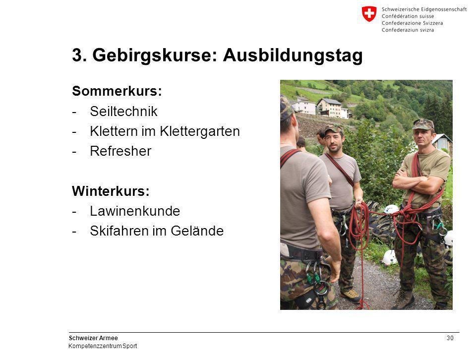 30 Schweizer Armee Kompetenzzentrum Sport 3. Gebirgskurse: Ausbildungstag Sommerkurs: -Seiltechnik -Klettern im Klettergarten -Refresher Winterkurs: -