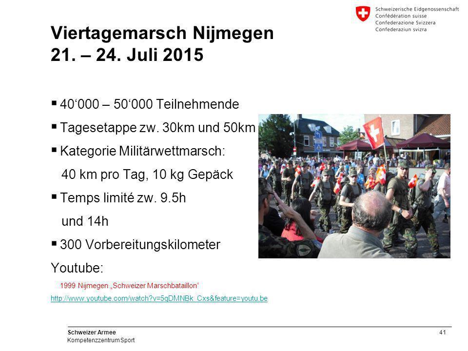 41 Schweizer Armee Kompetenzzentrum Sport Viertagemarsch Nijmegen 21. – 24. Juli 2015  40'000 – 50'000 Teilnehmende  Tagesetappe zw. 30km und 50km 