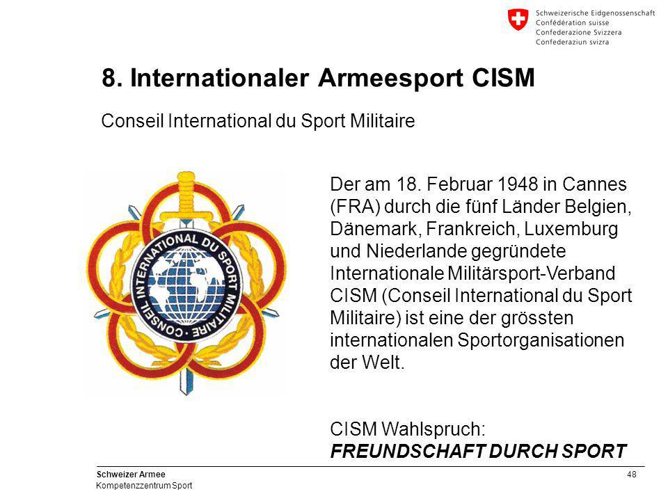 48 Schweizer Armee Kompetenzzentrum Sport 8. Internationaler Armeesport CISM Conseil International du Sport Militaire Der am 18. Februar 1948 in Canne