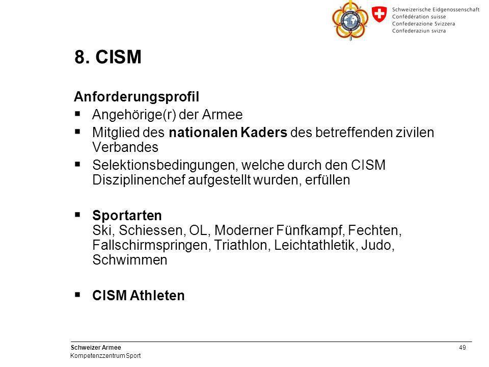 49 Schweizer Armee Kompetenzzentrum Sport 8. CISM Anforderungsprofil  Angehörige(r) der Armee  Mitglied des nationalen Kaders des betreffenden zivil
