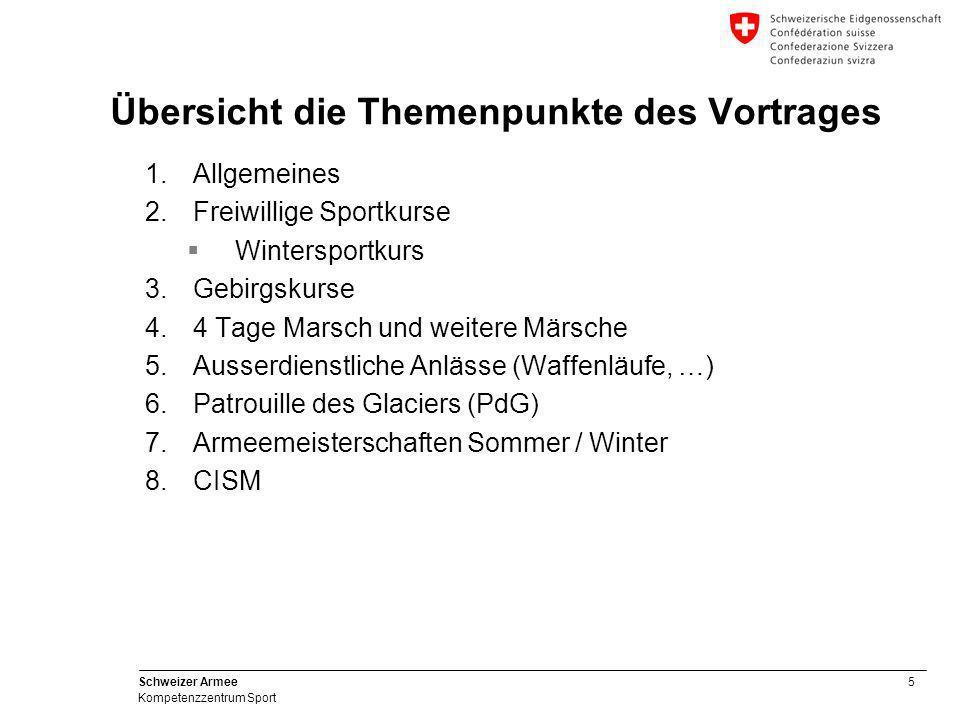 5 Schweizer Armee Kompetenzzentrum Sport Übersicht die Themenpunkte des Vortrages 1.Allgemeines 2.Freiwillige Sportkurse  Wintersportkurs 3.Gebirgsku