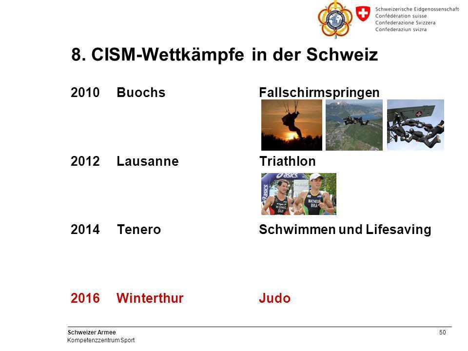 50 Schweizer Armee Kompetenzzentrum Sport 8. CISM-Wettkämpfe in der Schweiz 2010BuochsFallschirmspringen 2012LausanneTriathlon 2014TeneroSchwimmen und