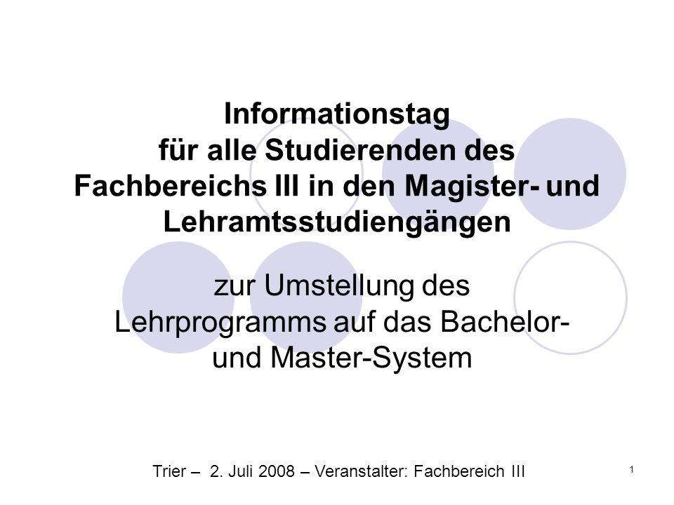 Dekanat FBIII: Informationstag des Fachbereichs III 12 1.