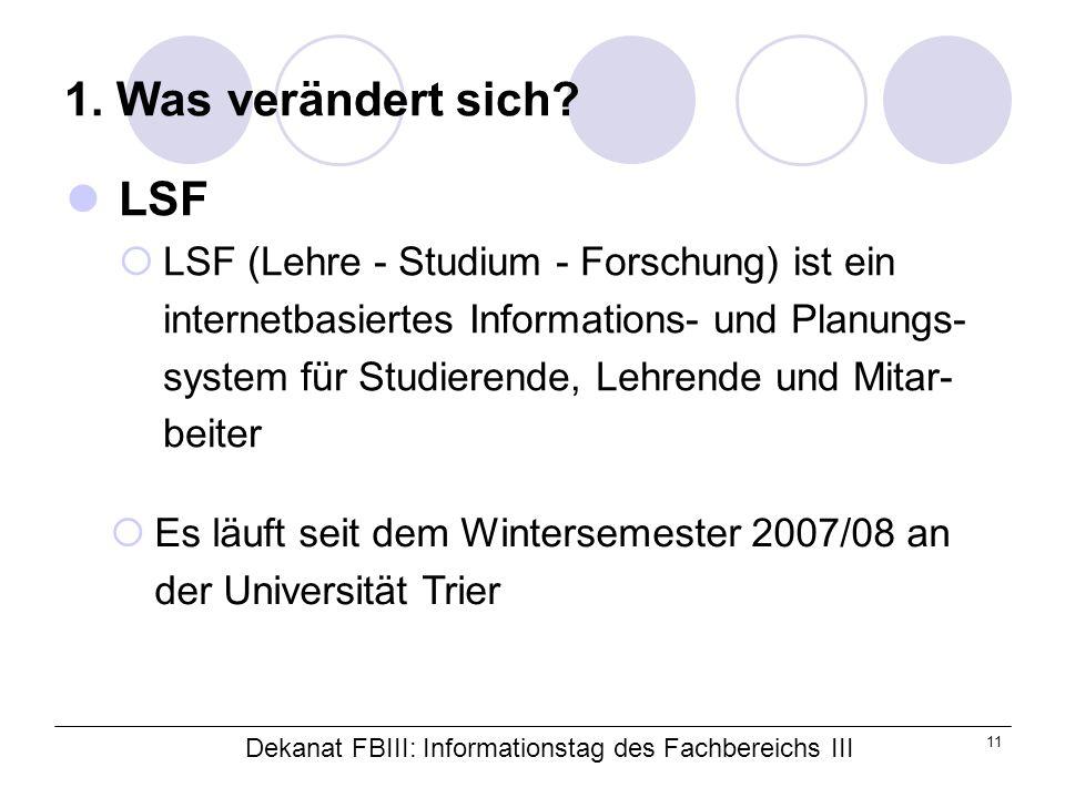 Dekanat FBIII: Informationstag des Fachbereichs III 11 1.