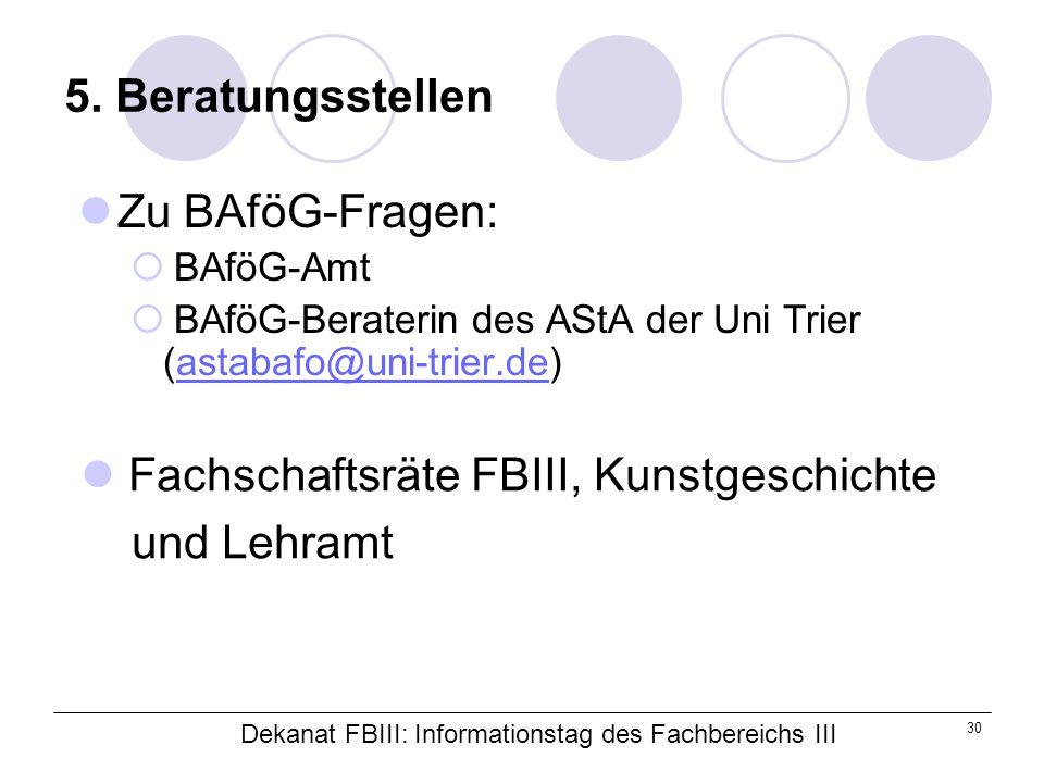 Dekanat FBIII: Informationstag des Fachbereichs III 30 5.