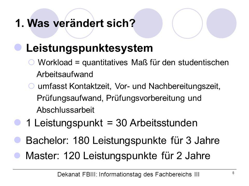 Dekanat FBIII: Informationstag des Fachbereichs III 8 1.