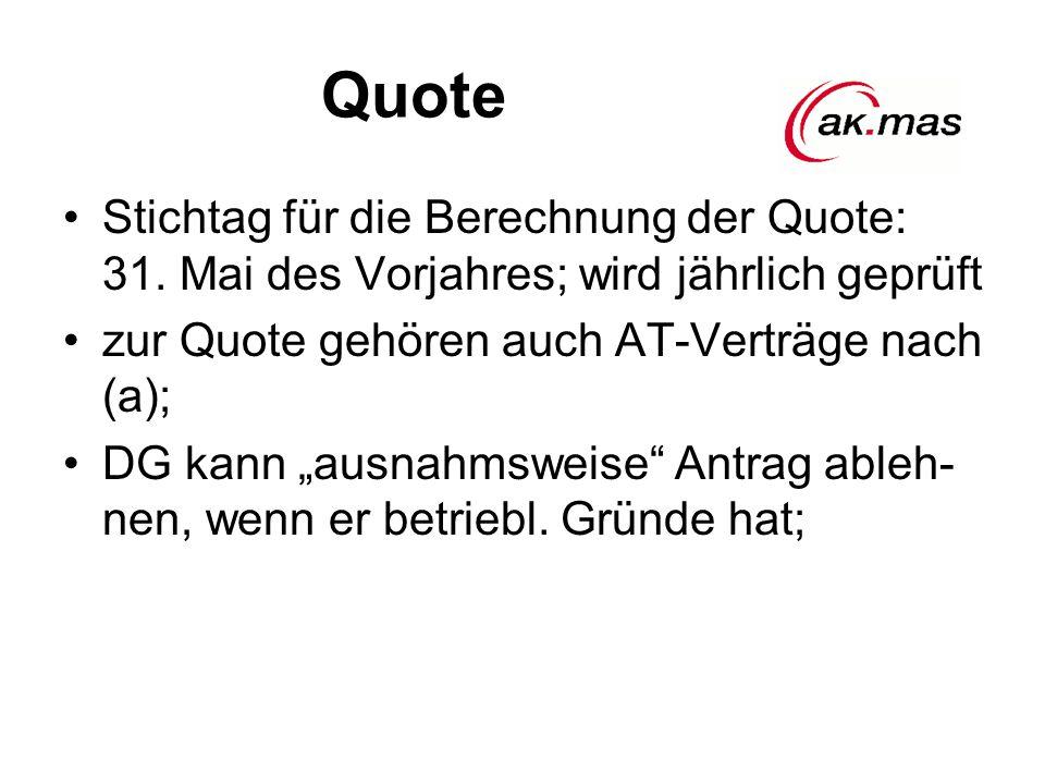 Quote Stichtag für die Berechnung der Quote: 31.