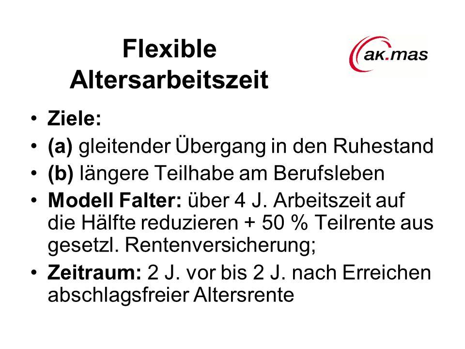 Flexible Altersarbeitszeit Ziele: (a) gleitender Übergang in den Ruhestand (b) längere Teilhabe am Berufsleben Modell Falter: über 4 J.