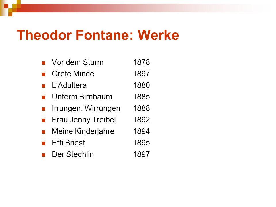 Theodor Fontane: Werke Vor dem Sturm 1878 Grete Minde 1897 L'Adultera 1880 Unterm Birnbaum 1885 Irrungen, Wirrungen 1888 Frau Jenny Treibel 1892 Meine