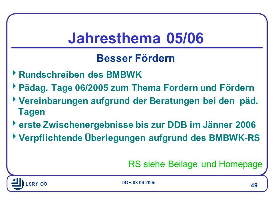 LSR f.OÖ DDB 08.09.2005 49 Jahresthema 05/06 Besser Fördern  Rundschreiben des BMBWK  Pädag.