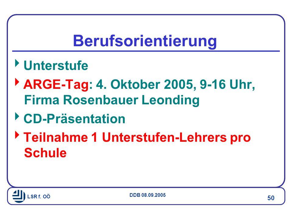 LSR f.OÖ DDB 08.09.2005 50 Berufsorientierung  Unterstufe  ARGE-Tag: 4.
