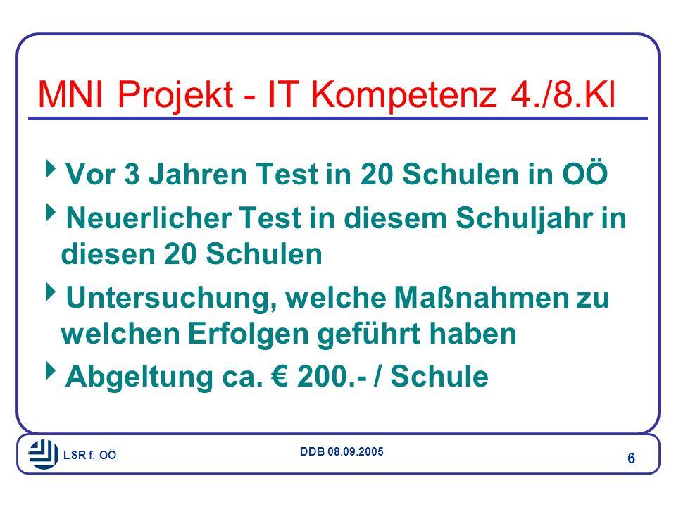 LSR f.OÖ DDB 08.09.2005 7 MNI Projekt - IT Kompetenz 4./8.Kl Mag.