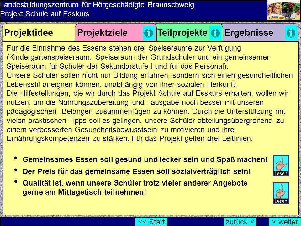 Landesbildungszentrum für Hörgeschädigte Braunschweig Projekt Schule auf Esskurs Für die Einnahme des Essens stehen drei Speiseräume zur Verfügung (Ki