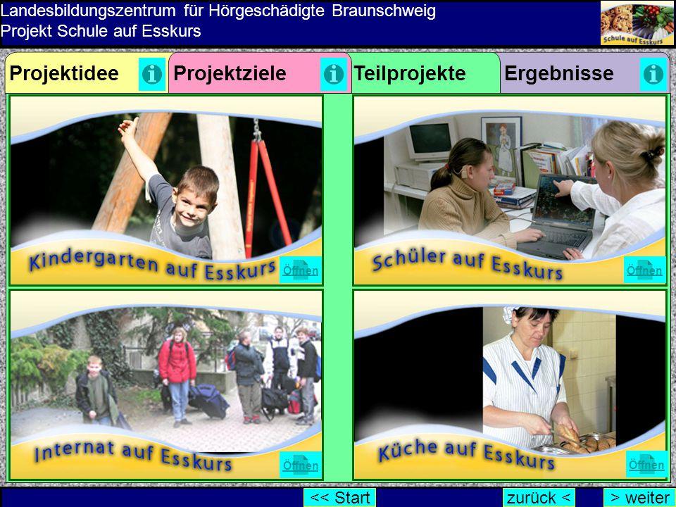 Landesbildungszentrum für Hörgeschädigte Braunschweig Projekt Schule auf Esskurs ErgebnisseProjektzieleProjektideeTeilprojekte Öffnen zurück <> weiter