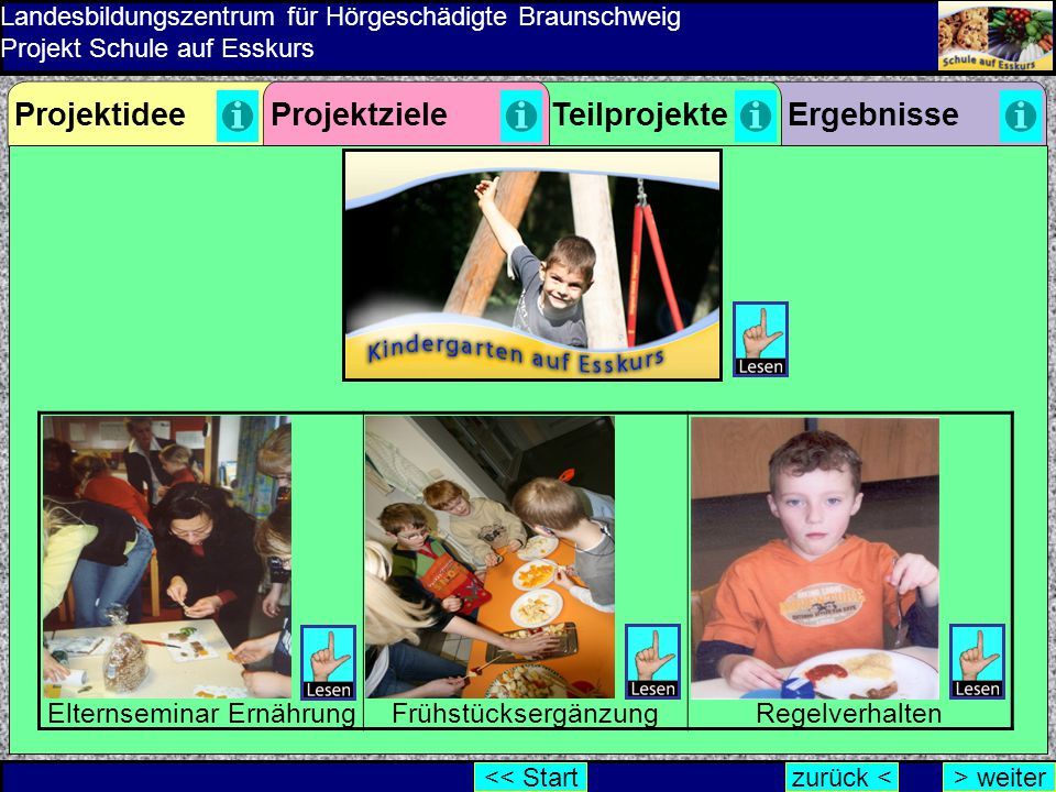 Landesbildungszentrum für Hörgeschädigte Braunschweig Projekt Schule auf Esskurs Elternseminar ErnährungFrühstücksergänzungRegelverhalten ErgebnissePr