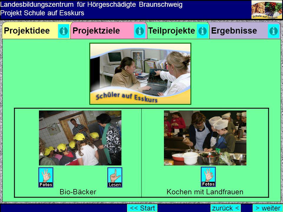 Landesbildungszentrum für Hörgeschädigte Braunschweig Projekt Schule auf Esskurs ErgebnisseProjektzieleProjektideeTeilprojekte zurück <> weiter<< Star