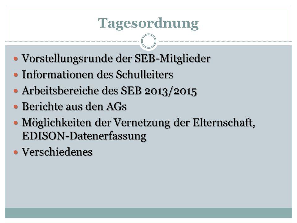Tagesordnung Vorstellungsrunde der SEB-Mitglieder Vorstellungsrunde der SEB-Mitglieder Informationen des Schulleiters Informationen des Schulleiters A