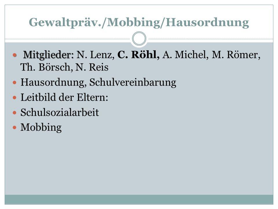 Gewaltpräv./Mobbing/Hausordnung Mitglieder: Mitglieder: N. Lenz, C. Röhl, A. Michel, M. Römer, Th. Börsch, N. Reis Hausordnung, Schulvereinbarung Leit