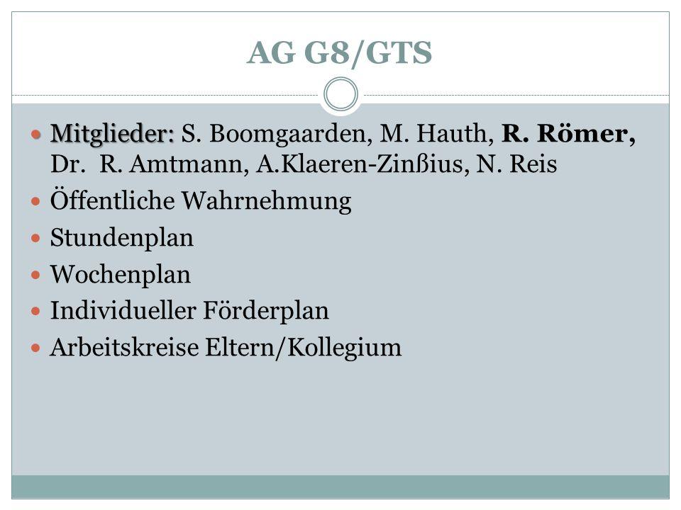 AG G8/GTS Mitglieder: Mitglieder: S. Boomgaarden, M. Hauth, R. Römer, Dr. R. Amtmann, A.Klaeren-Zinßius, N. Reis Öffentliche Wahrnehmung Stundenplan W