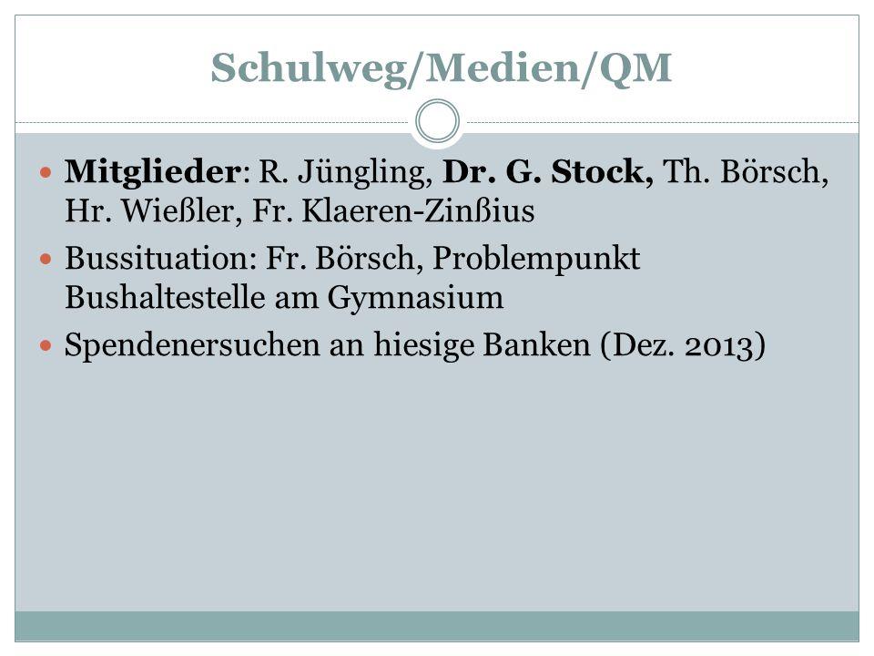 Schulweg/Medien/QM Mitglieder: R. Jüngling, Dr. G. Stock, Th. Börsch, Hr. Wießler, Fr. Klaeren-Zinßius Bussituation: Fr. Börsch, Problempunkt Bushalte