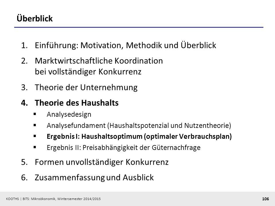 KOOTHS | BiTS: Mikroökonomik, Wintersemester 2014/2015 106 Überblick 1.Einführung: Motivation, Methodik und Überblick 2.Marktwirtschaftliche Koordinat