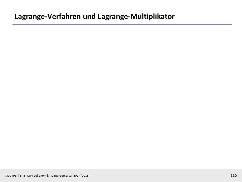 KOOTHS | BiTS: Mikroökonomik, Wintersemester 2014/2015 110 Lagrange-Verfahren und Lagrange-Multiplikator