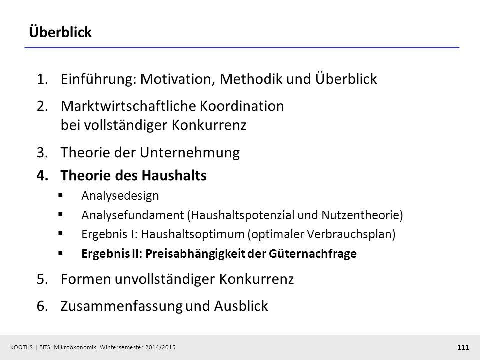 KOOTHS | BiTS: Mikroökonomik, Wintersemester 2014/2015 111 Überblick 1.Einführung: Motivation, Methodik und Überblick 2.Marktwirtschaftliche Koordinat