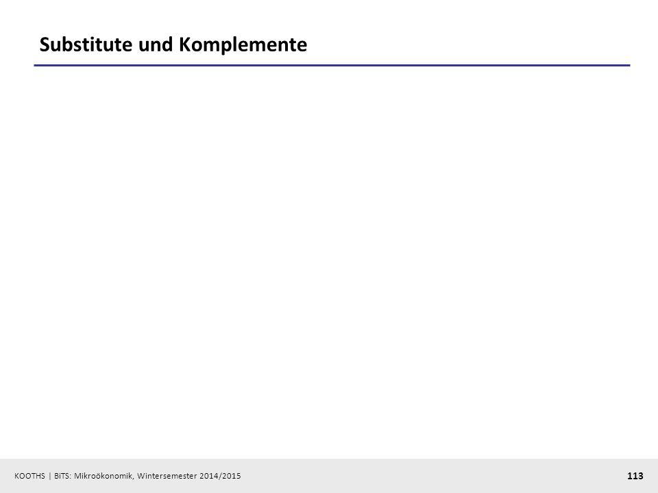 KOOTHS | BiTS: Mikroökonomik, Wintersemester 2014/2015 113 Substitute und Komplemente