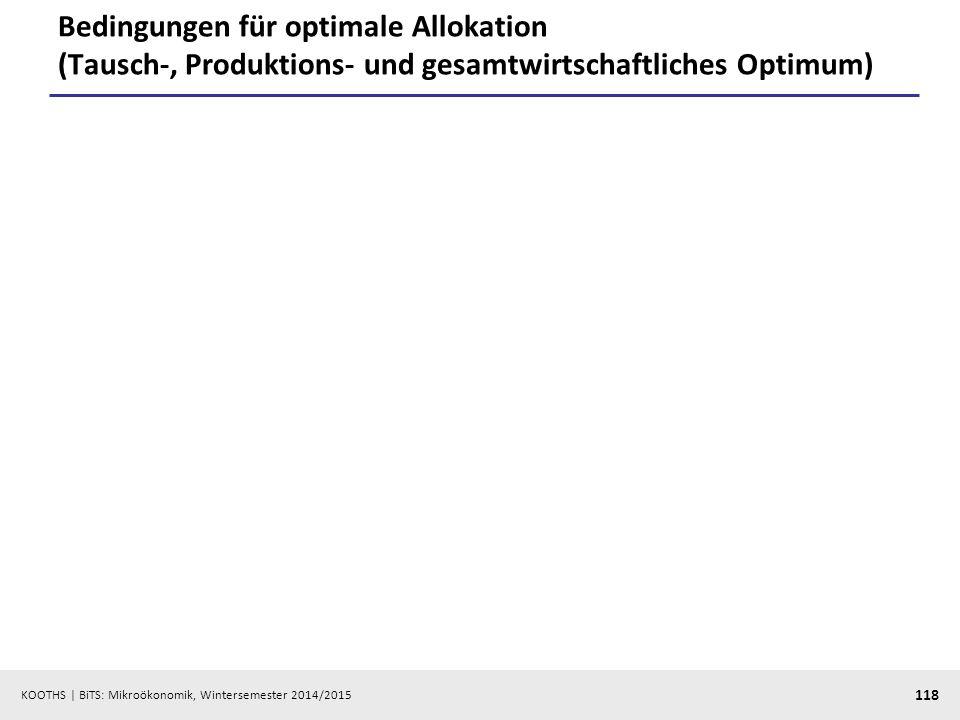 KOOTHS | BiTS: Mikroökonomik, Wintersemester 2014/2015 118 Bedingungen für optimale Allokation (Tausch-, Produktions- und gesamtwirtschaftliches Optim
