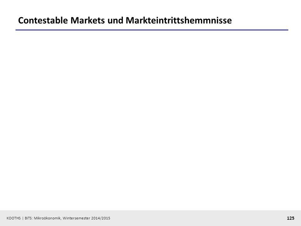 KOOTHS | BiTS: Mikroökonomik, Wintersemester 2014/2015 125 Contestable Markets und Markteintrittshemmnisse