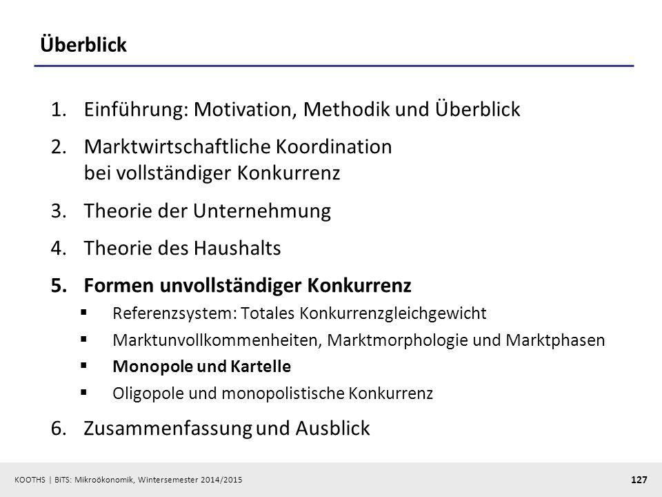 KOOTHS | BiTS: Mikroökonomik, Wintersemester 2014/2015 127 Überblick 1.Einführung: Motivation, Methodik und Überblick 2.Marktwirtschaftliche Koordinat