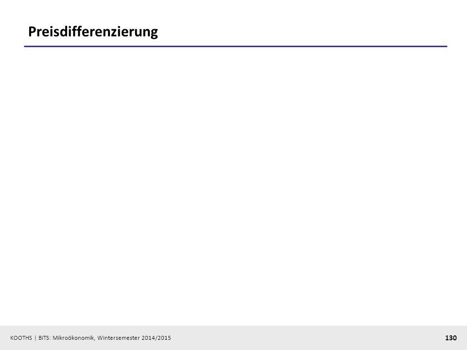 KOOTHS | BiTS: Mikroökonomik, Wintersemester 2014/2015 130 Preisdifferenzierung