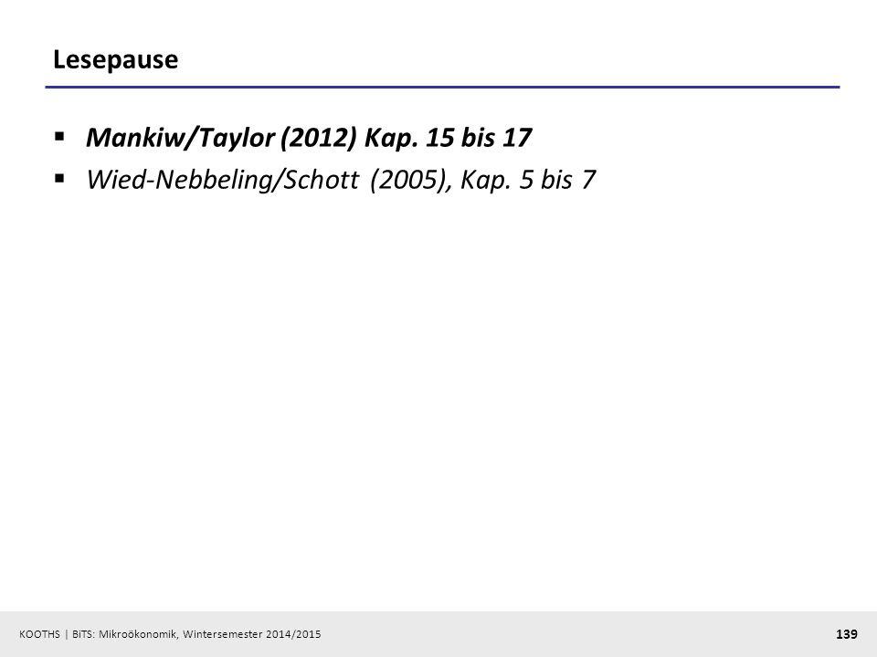 KOOTHS | BiTS: Mikroökonomik, Wintersemester 2014/2015 139 Lesepause  Mankiw/Taylor (2012) Kap. 15 bis 17  Wied-Nebbeling/Schott (2005), Kap. 5 bis