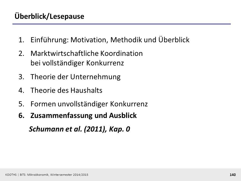 KOOTHS | BiTS: Mikroökonomik, Wintersemester 2014/2015 140 Überblick/Lesepause 1.Einführung: Motivation, Methodik und Überblick 2.Marktwirtschaftliche