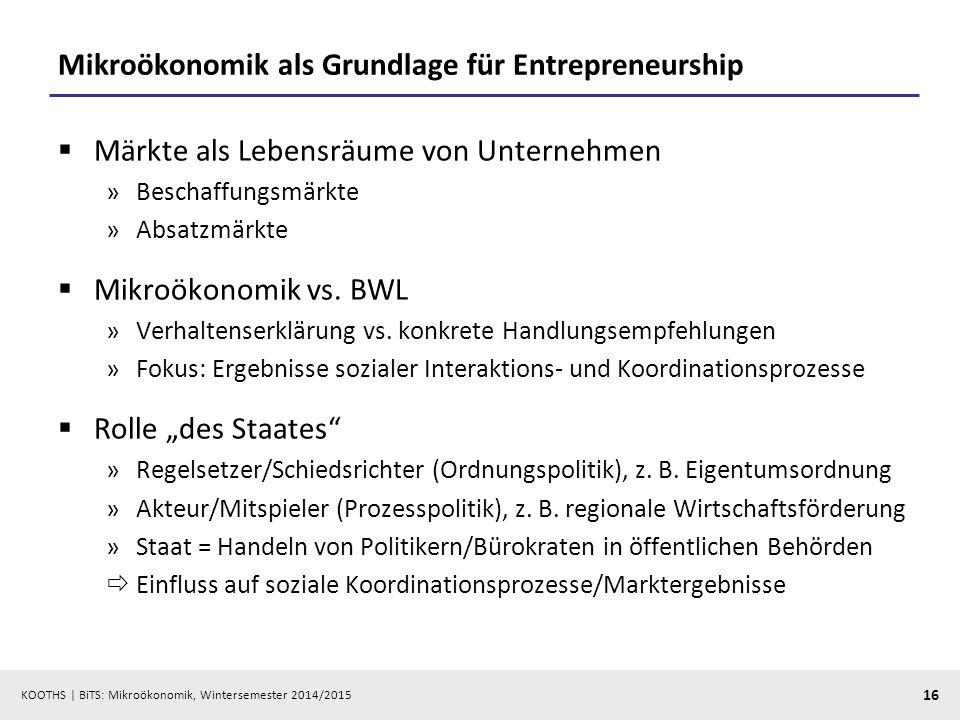 KOOTHS | BiTS: Mikroökonomik, Wintersemester 2014/2015 16 Mikroökonomik als Grundlage für Entrepreneurship  Märkte als Lebensräume von Unternehmen »B