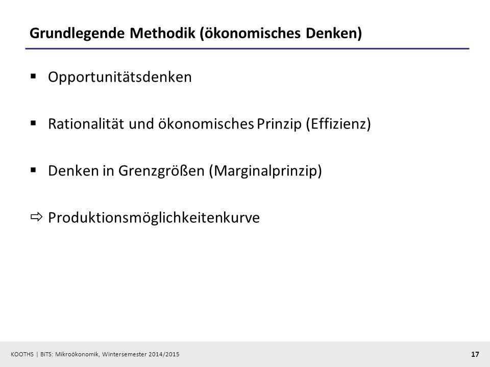 KOOTHS | BiTS: Mikroökonomik, Wintersemester 2014/2015 17 Grundlegende Methodik (ökonomisches Denken)  Opportunitätsdenken  Rationalität und ökonomi
