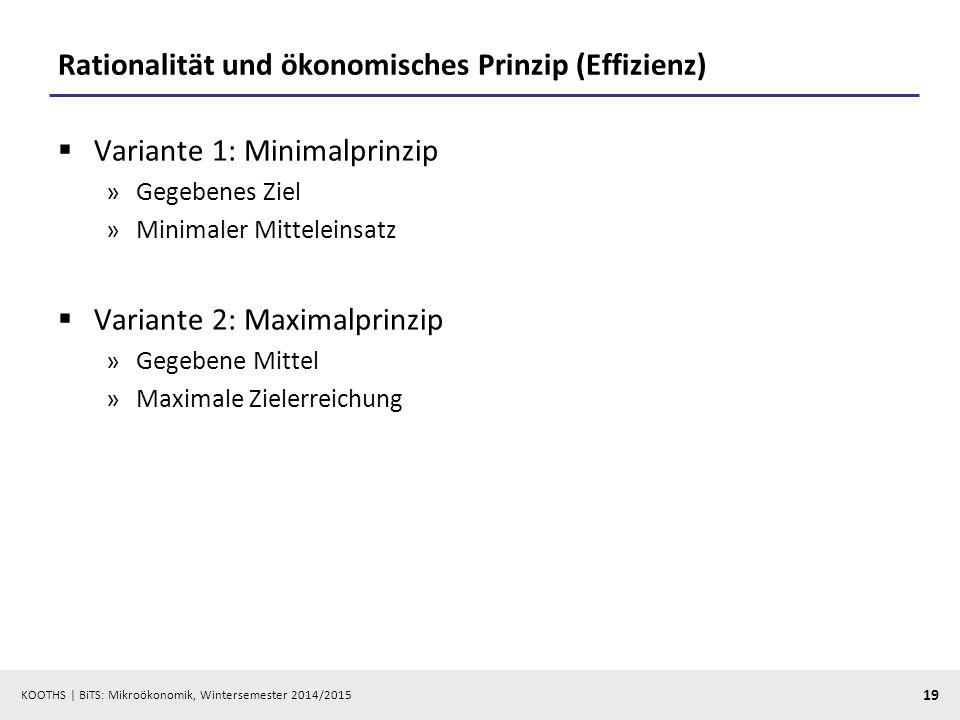 KOOTHS | BiTS: Mikroökonomik, Wintersemester 2014/2015 19 Rationalität und ökonomisches Prinzip (Effizienz)  Variante 1: Minimalprinzip »Gegebenes Zi